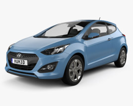 3D model of Hyundai i30 3-door hatchback 2013