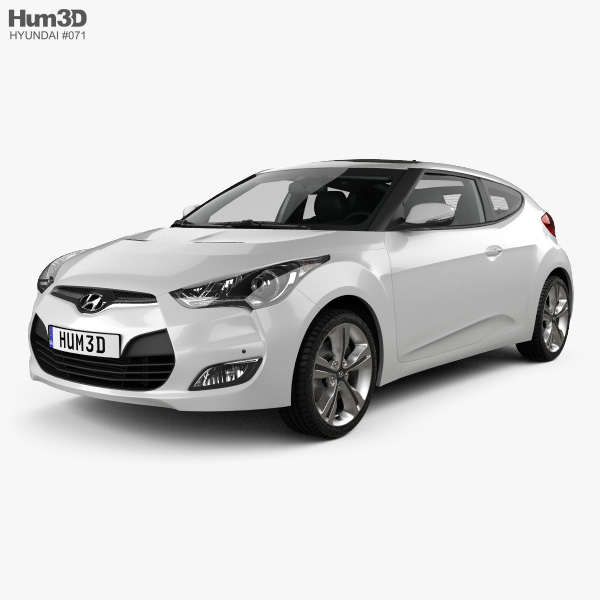 3D model of Hyundai Veloster with HQ interior 2014