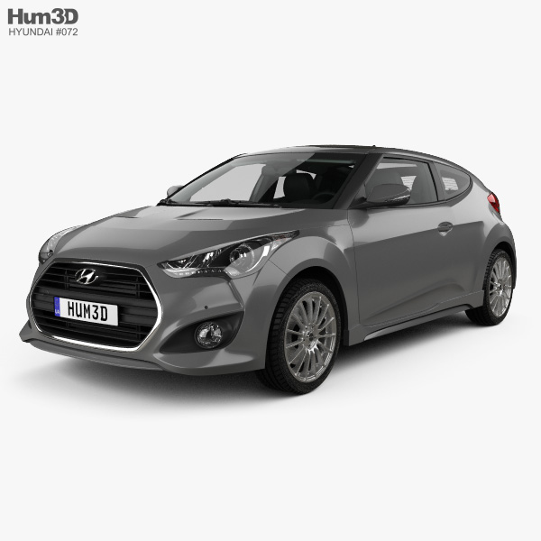 3D model of Hyundai Veloster Turbo with HQ interior 2014