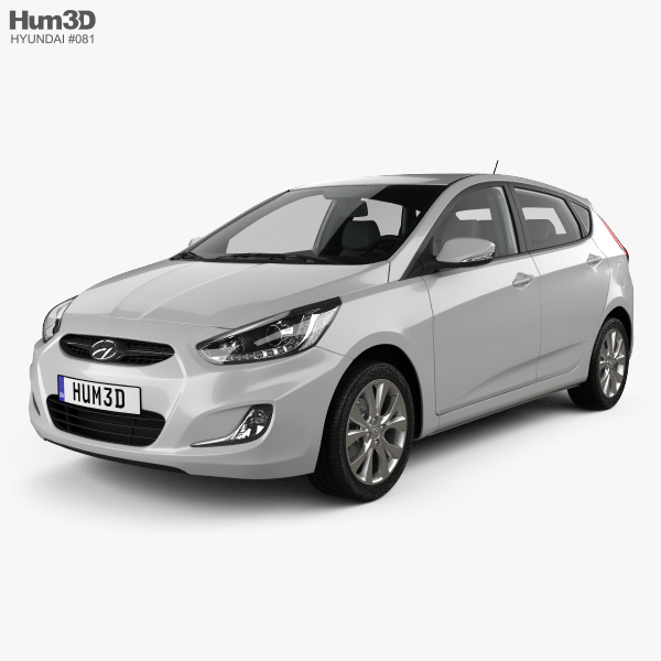 3D model of Hyundai Accent (RB) with HQ interior 2014