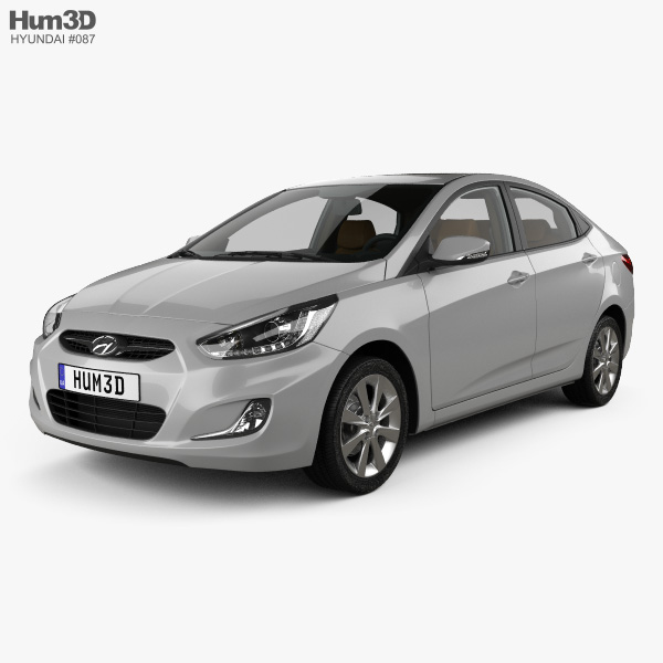 3D model of Hyundai Accent (RB) sedan with HQ interior 2014