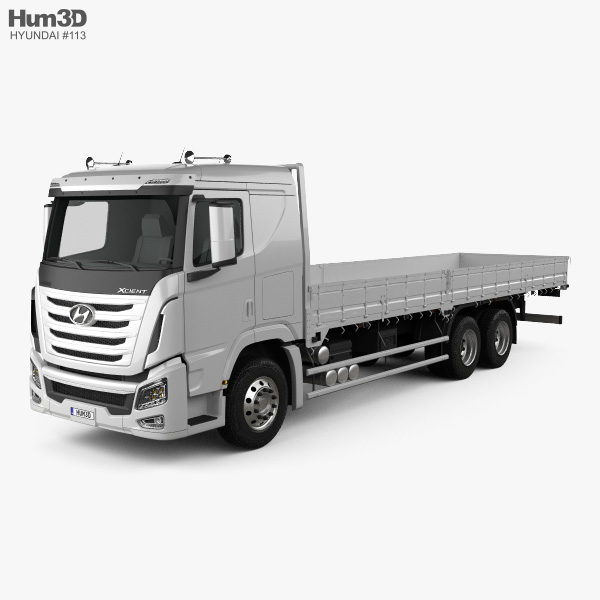 3D model of Hyundai Xcient Flatbed Truck 2014