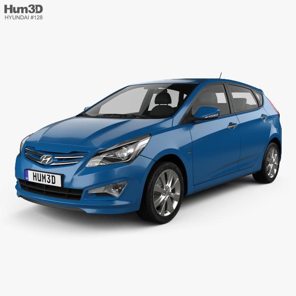 3D model of Hyundai Verna (Accent) 5-door hatchback 2014