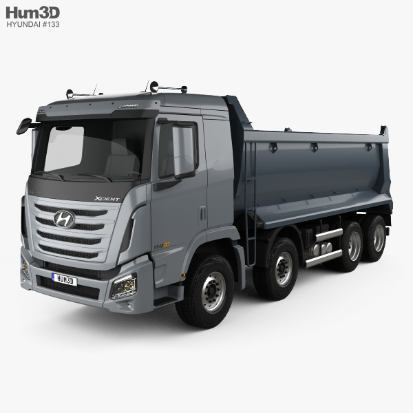 3D model of Hyundai Xcient P540 Dump Truck 4-axle 2013