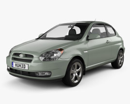 3D model of Hyundai Accent (MC) hatchback 3-door 2006
