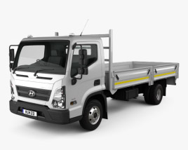 3D model of Hyundai Mighty EX8 Flatbed Truck 2018