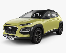 3D model of Hyundai Kona with HQ interior 2018