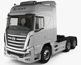 3D model of Hyundai Xcient P520 Tractor Truck with HQ interior 2013
