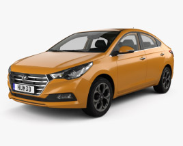 3D model of Hyundai Verna CN-spec sedan with HQ interior 2017
