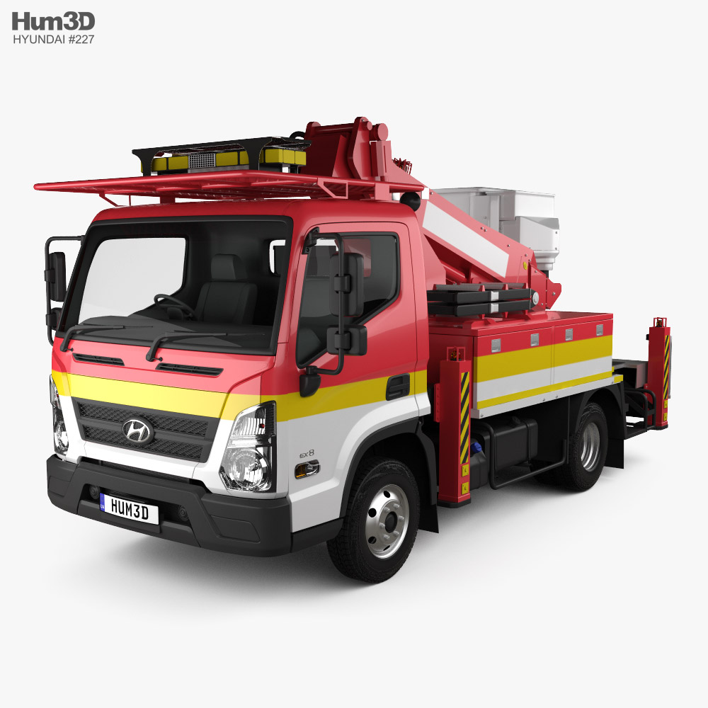 3D model of Hyundai Mighty DHT-110S Bucket Truck 2020