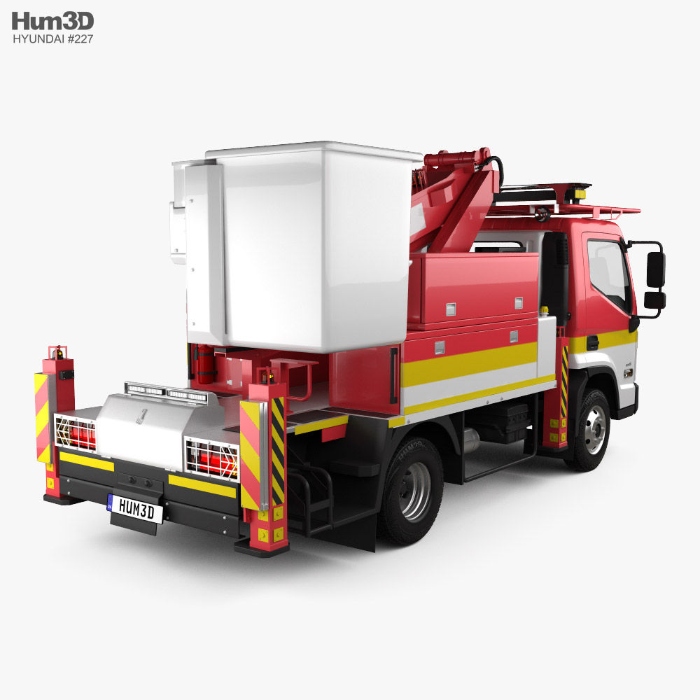 Hyundai Mighty DHT-110S Bucket Truck 2020 3d model back view