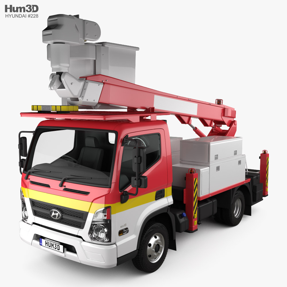 3D model of Hyundai Mighty DHT-150ASB Bucket Truck 2020