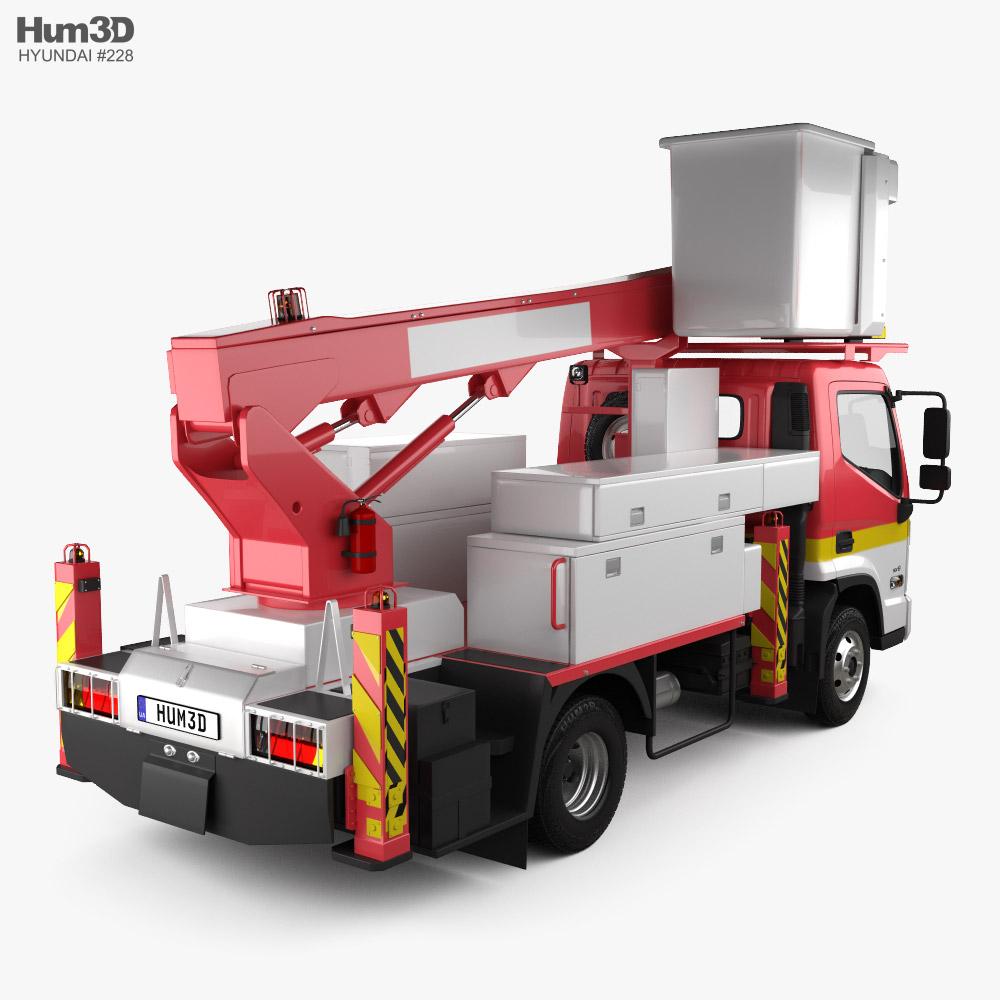 Hyundai Mighty DHT-150ASB Bucket Truck 2020 3d model back view