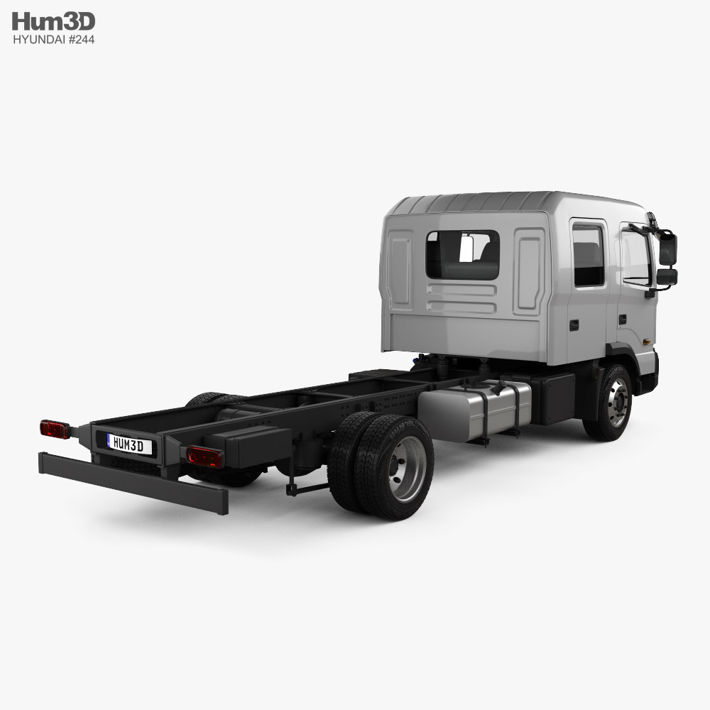 Hyundai Pavise Double Cab Chassis Truck 2019 3d model back view