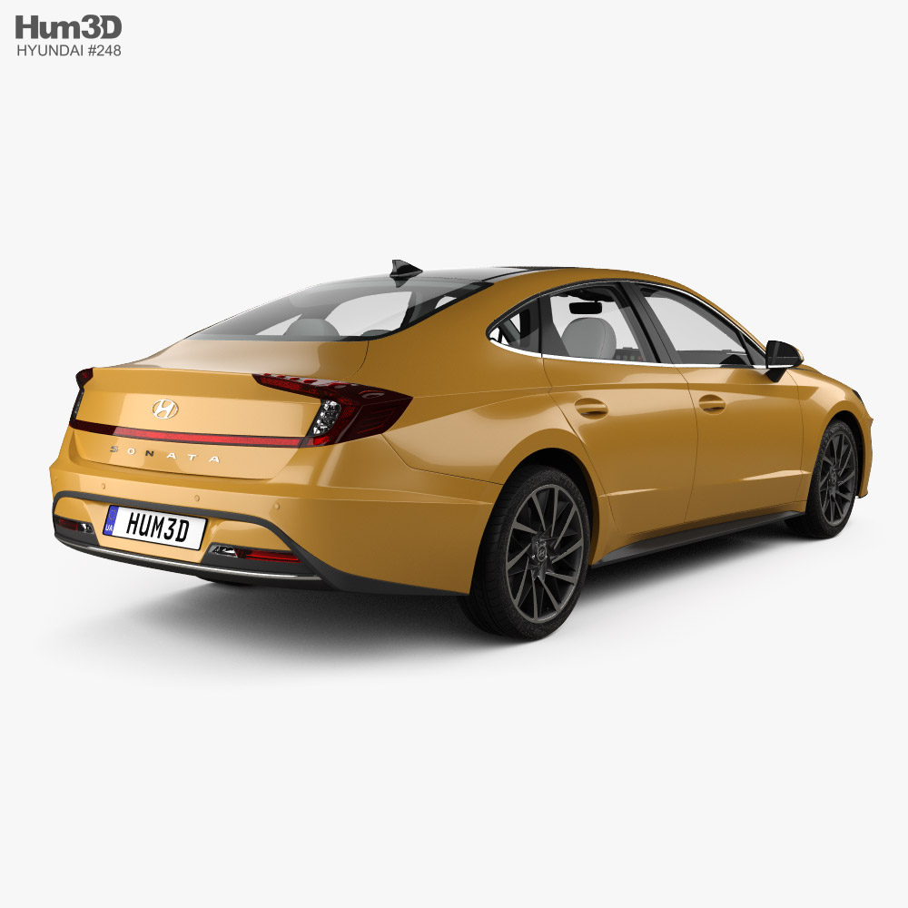 Hyundai Sonata with HQ interior and engine 2020 3d model back view