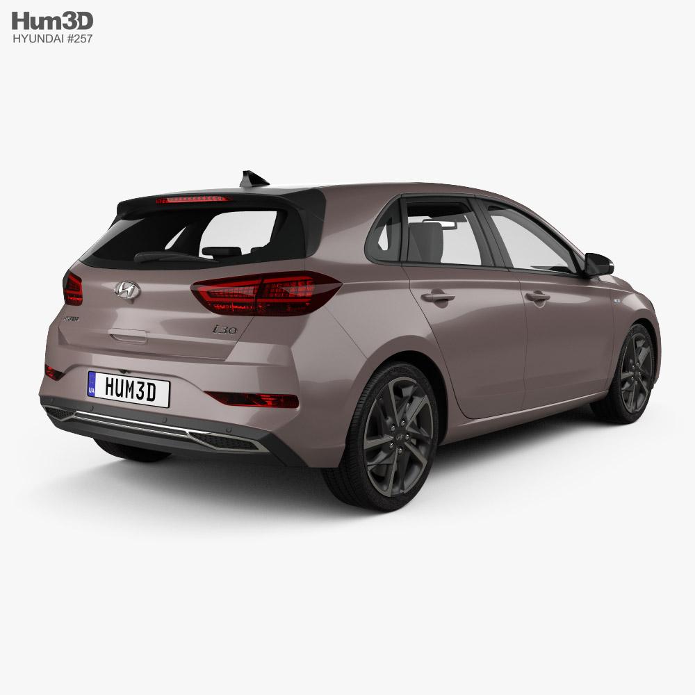 Hyundai i30 hybrid hatchback 2020 3d model back view
