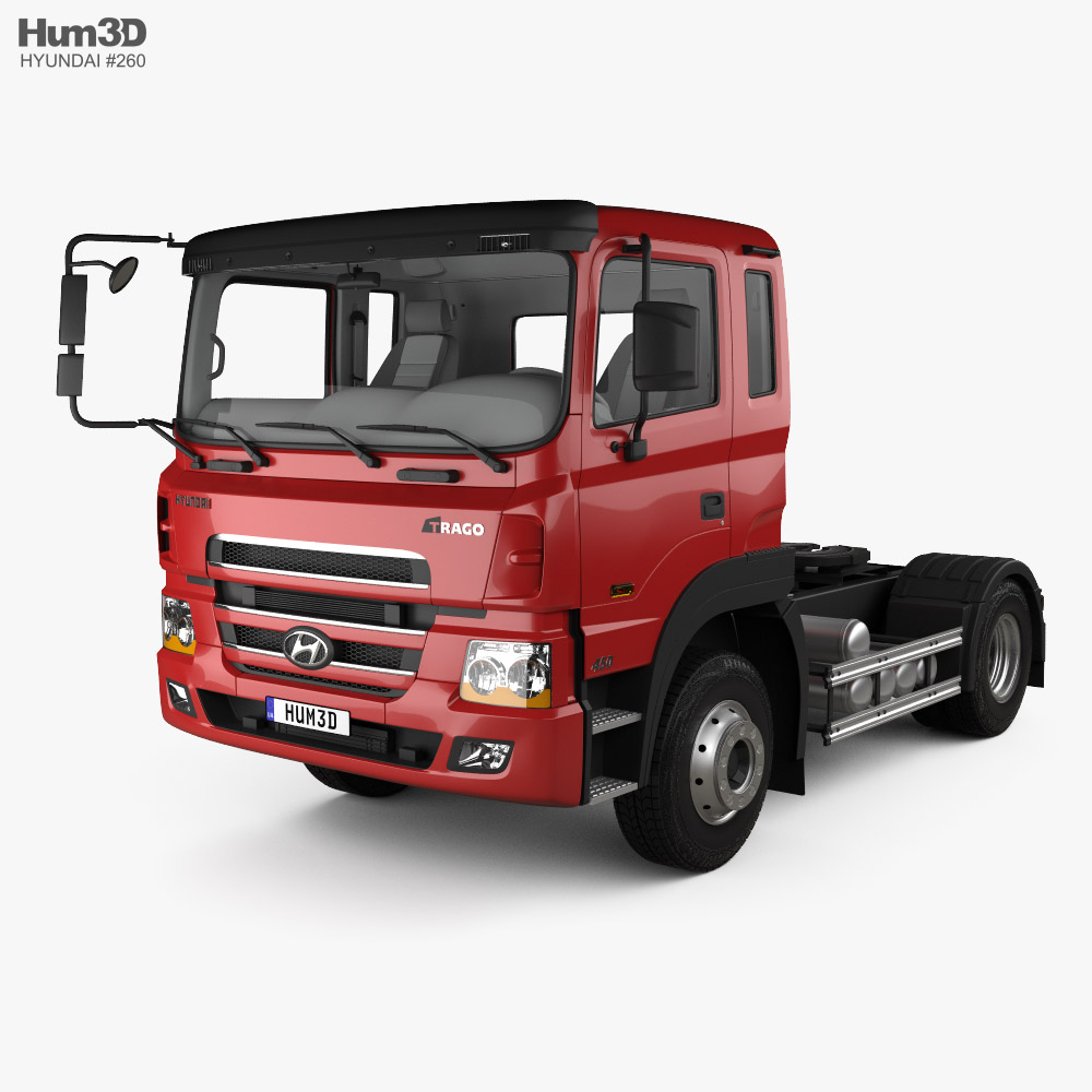 Hyundai Trago Tractor Truck 2-axle with HQ interior 2008 3D model