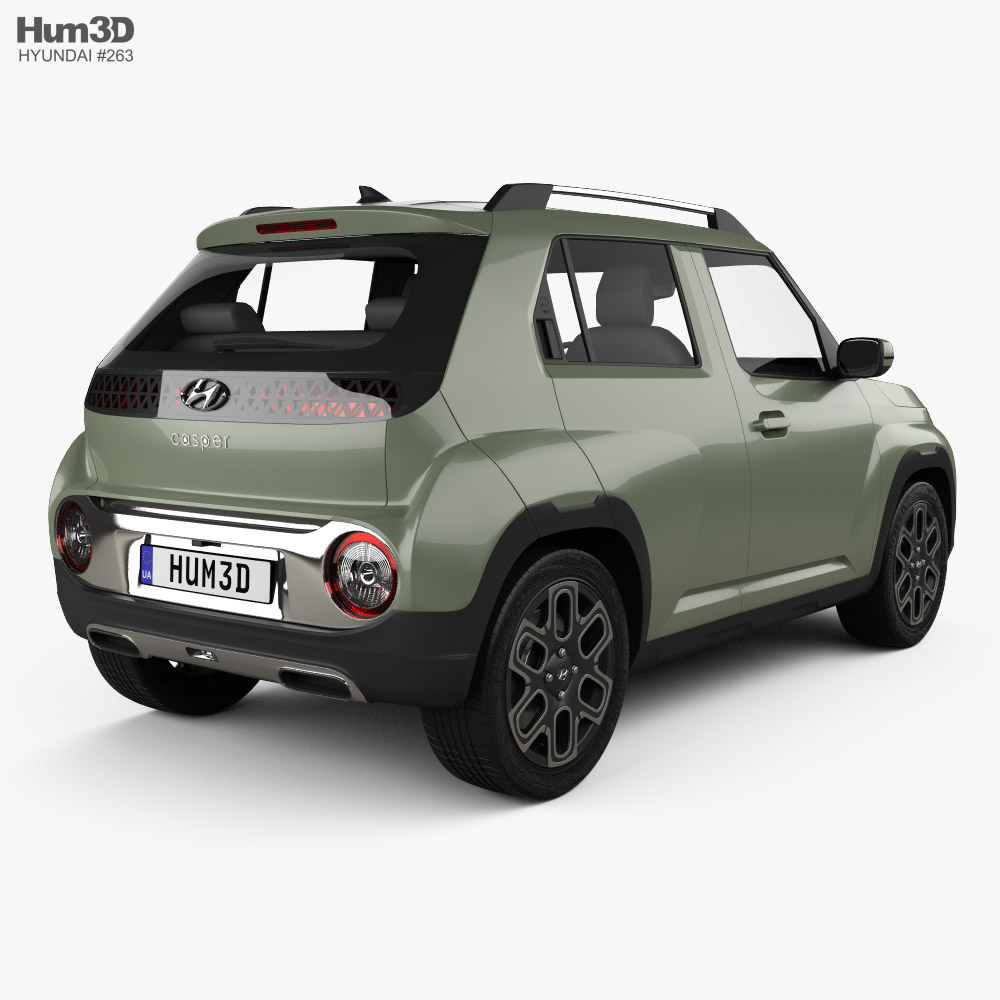 Hyundai Casper 2021 3d model back view