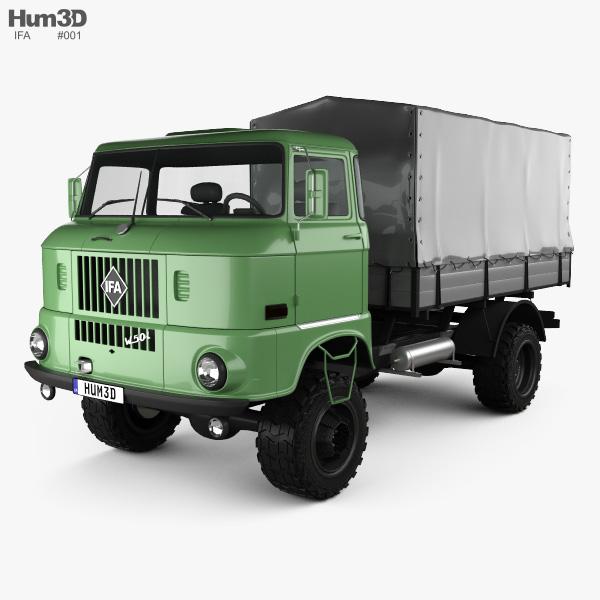 3D model of IFA W50 L Flatbed Truck 1980