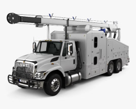 3D model of International WorkStar Crane Truck 2014