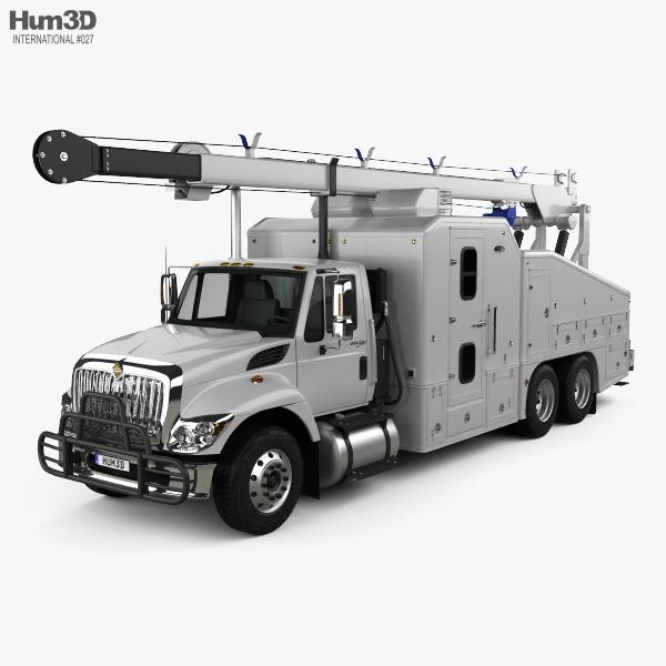 International WorkStar Crane Truck 2014 3D model
