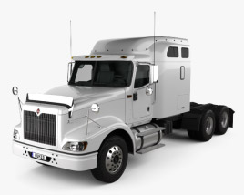 3D model of International 9400 Sleeper Cab Tractor Truck 2007