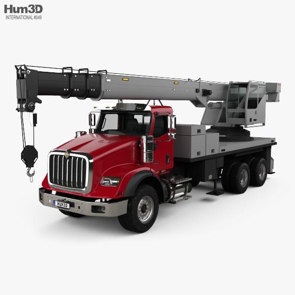 International HX620 Crane Truck with HQ interior 2016 3D model