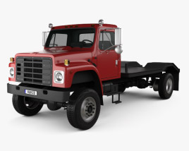 3D model of International S1900 Flatbed Truck 1986