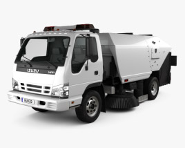 3D model of Isuzu NPR Road Cleaner 2011