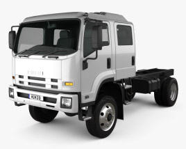 3D model of Isuzu FTS 800 Crew Cab Chassis Truck 2014