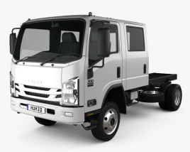 3D model of Isuzu NPS 300 Crew Cab Chassis Truck 2015