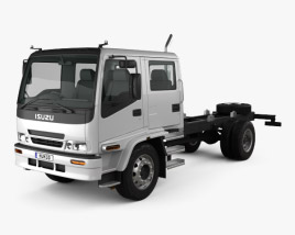 3D model of Isuzu FTR 800 Crew Cab Chassis Truck 1997