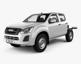 3D model of Isuzu D-Max Double Cab Chassis SX 2017
