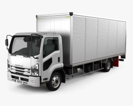 3D model of Isuzu Forward Box Truck 2017
