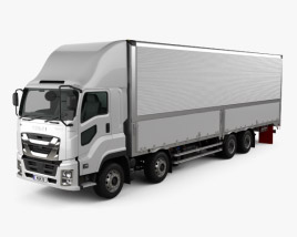 3D model of Isuzu Giga Box Truck 4-axle 2017