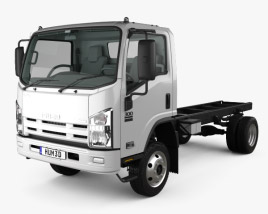 3D model of Isuzu NPS 300 Single Cab Chassis Truck with HQ interior 2015