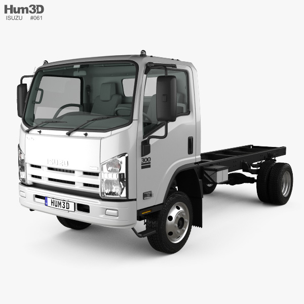 Isuzu NPS 300 Single Cab Chassis Truck with HQ interior 2015 3D model