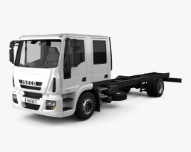 3D model of Iveco EuroCargo Double Cab Chassis Truck 2008