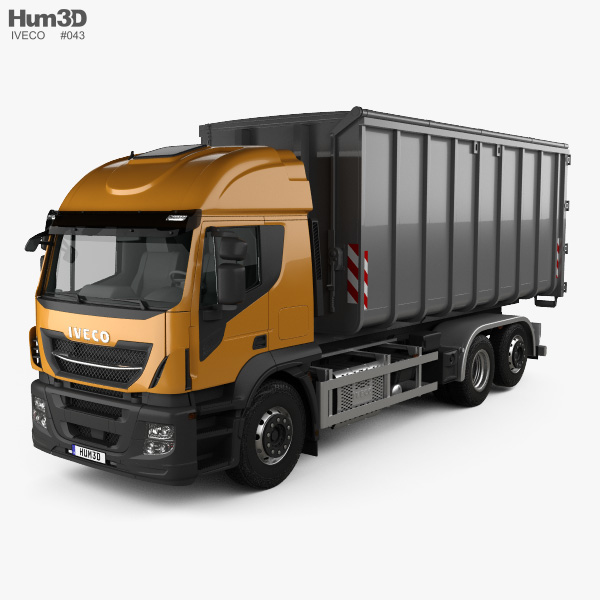 3D model of Iveco Stralis X-WAY Hook Lifter Truck 2017