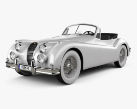 3D model of Jaguar XK 140 convertible with HQ interior 1954