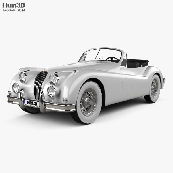 Jaguar XK 140 convertible with HQ interior 1954 3D model