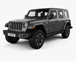 3D model of Jeep Wrangler Unlimited Sahara 2018