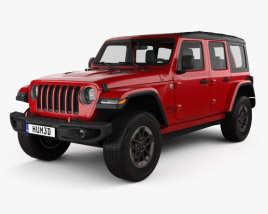 3D model of Jeep Wrangler 4-door Rubicon 2018