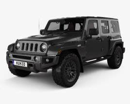 3D model of Jeep Wrangler Project Kahn JC300 Chelsea Black Hawk 4-door RHD with HQ interior 2016