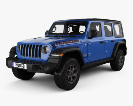 3D model of Jeep Wrangler 4-door Unlimited Rubicon with HQ interior 2018
