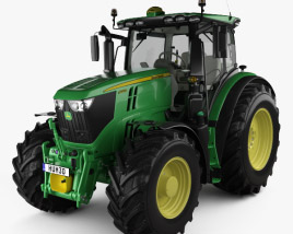 3D model of John Deere 6250R with HQ interior 2016
