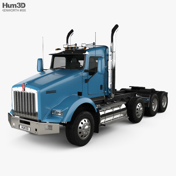 3D model of Kenworth T800 Chassis Truck 4-axle 2005
