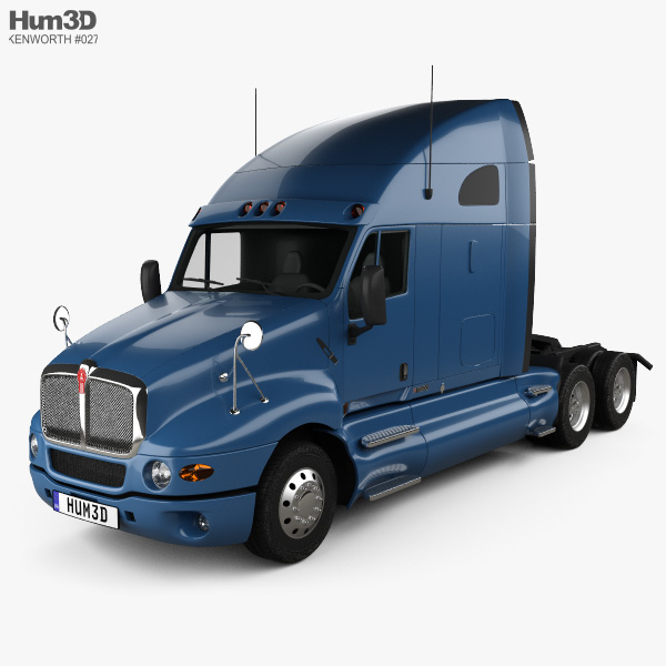 3D model of Kenworth T2000 Sleeper Cab Tractor Truck 2010