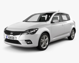 3D model of Kia Ceed hatchback 5-door with HQ Interior 2011