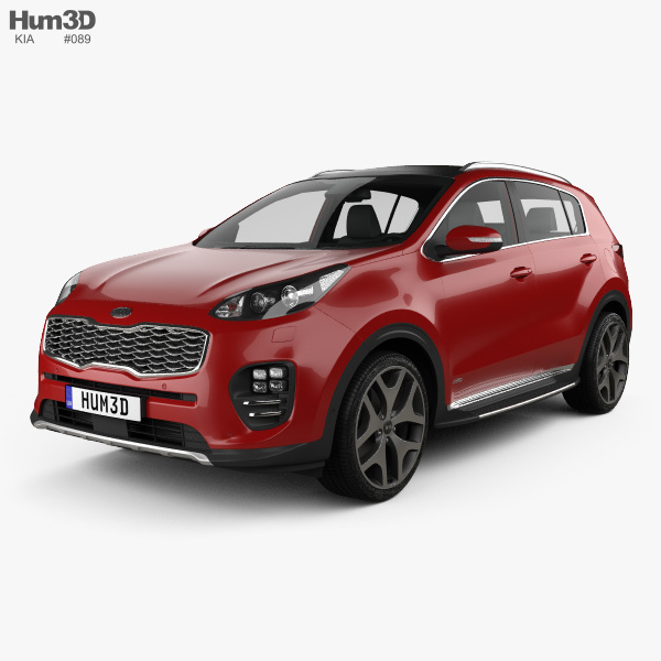 3D model of Kia Sportage GT-Line with HQ interior 2016